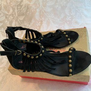 American Rag Black Studded Wedge Fringe Sandals